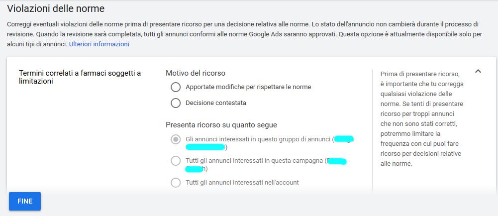 GoogleAds annunci non approvati