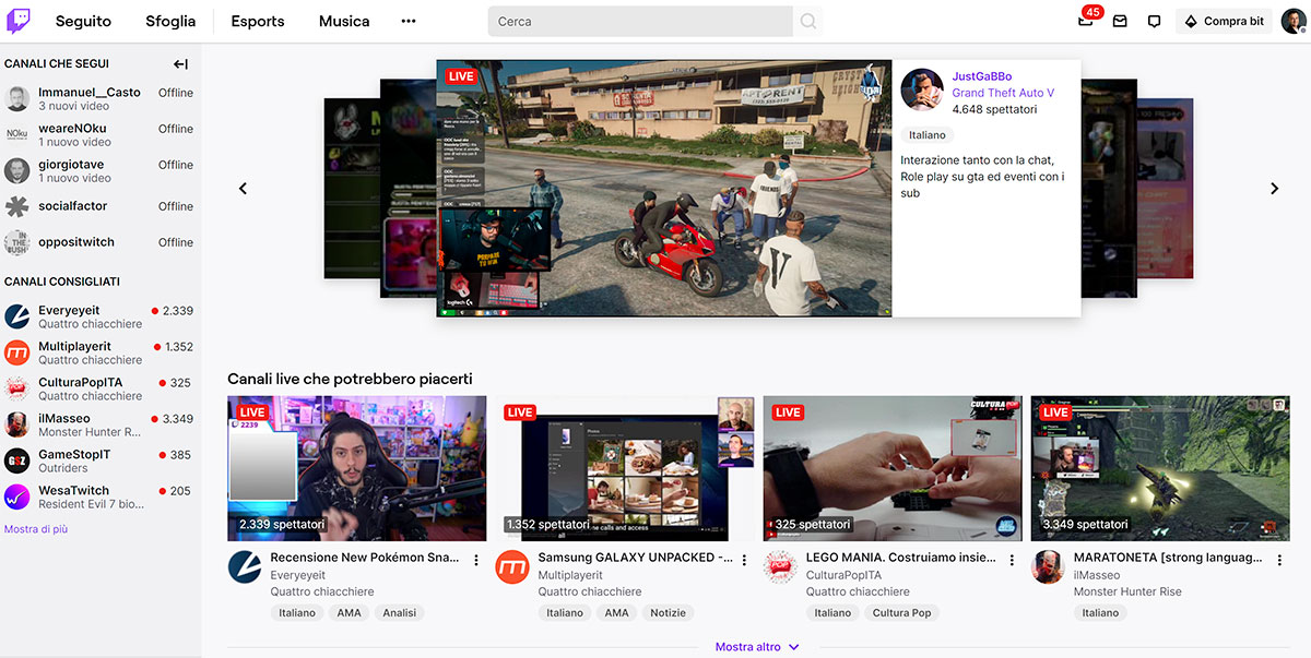 homepage twitch