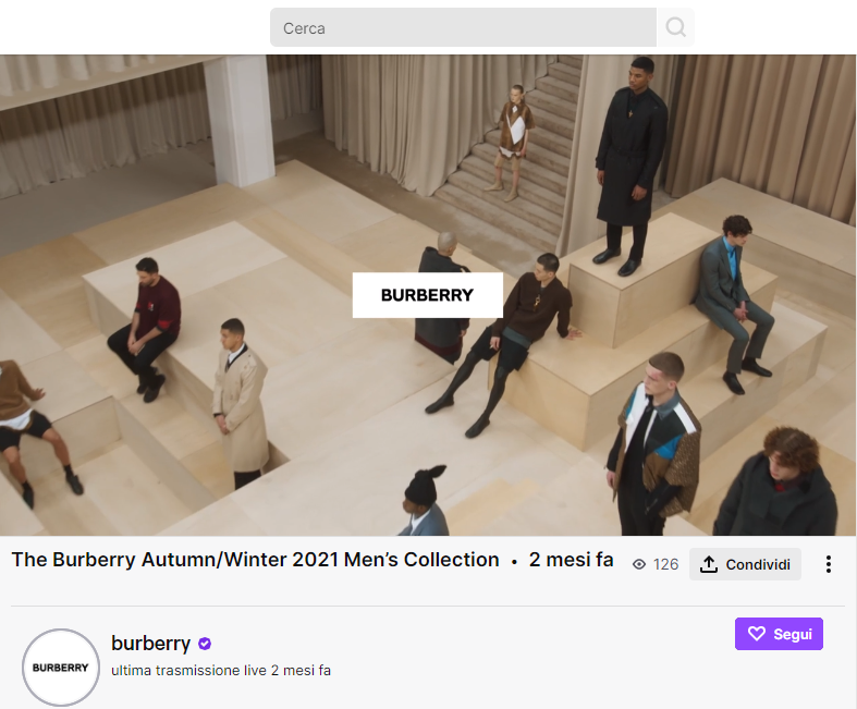 Burberry su Twitch