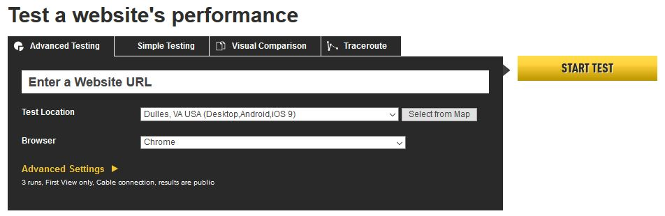 webpagetest web performance